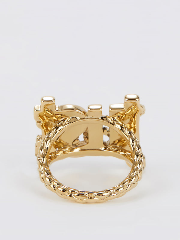 Gold Crystal Studded Monogram Ring - Size 6