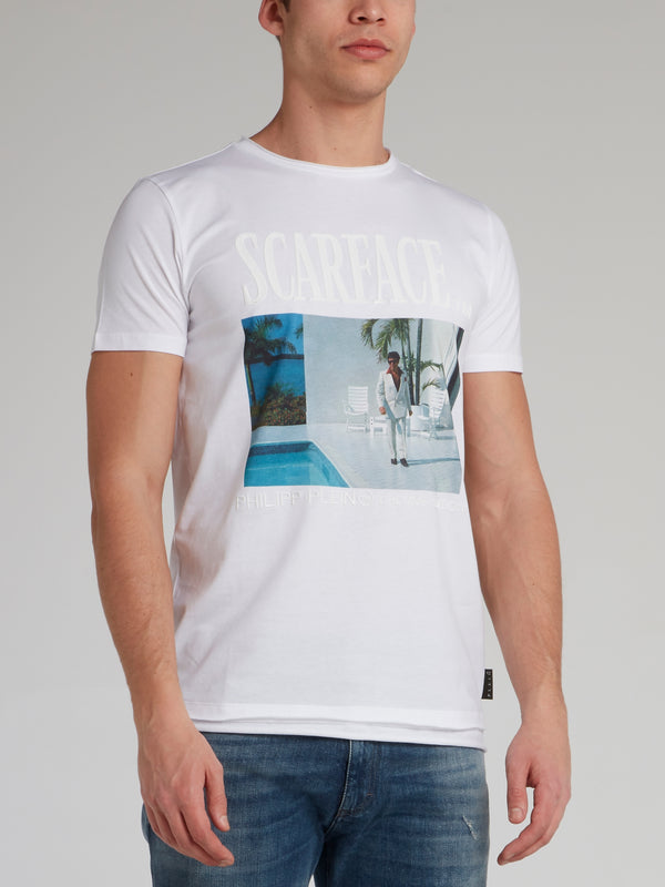 Scarface White Graphic T-Shirt