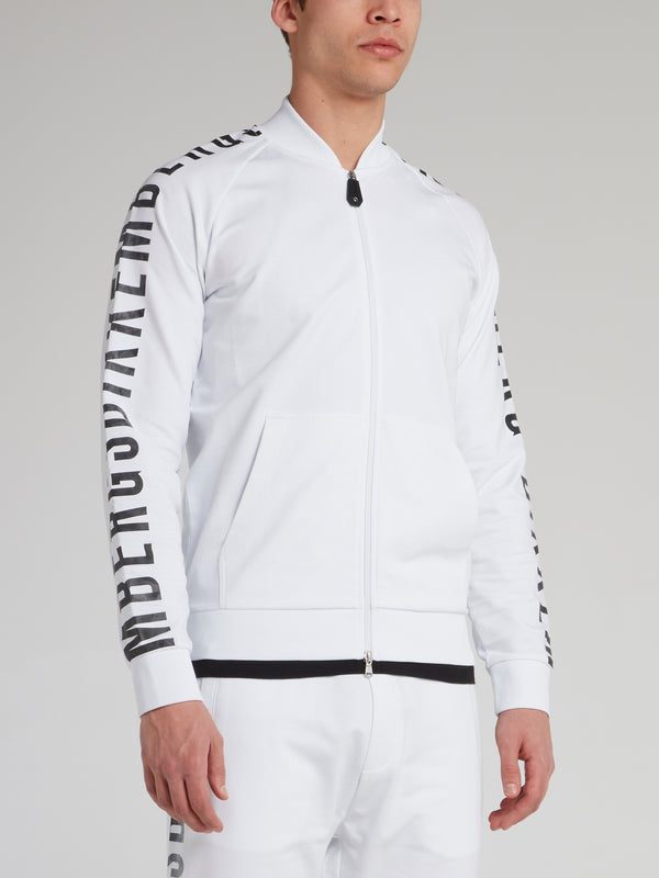 White Logo Sleeve Track Jacket
