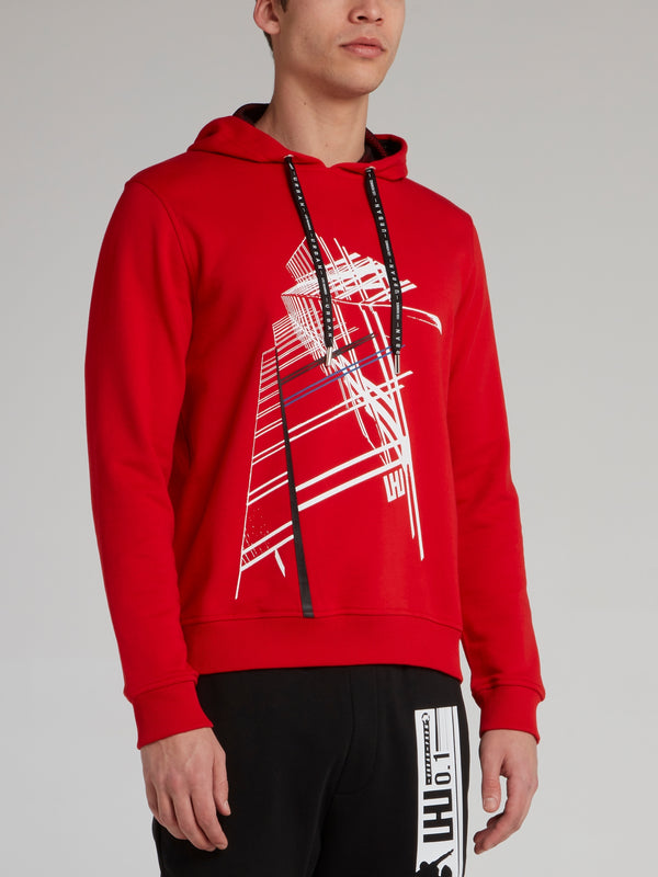Red Graphic City Print Hoodie