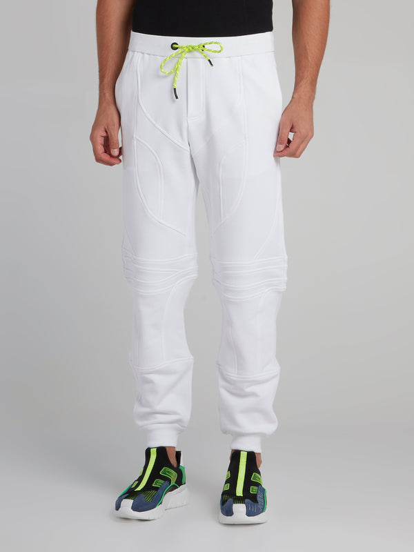 White Geometric Active Trousers