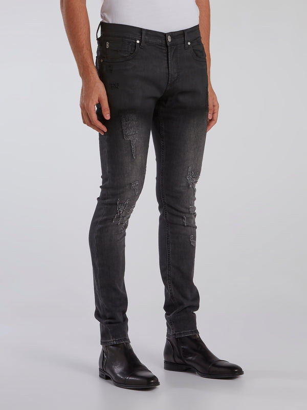 Black Stone Wash Distressed Jeans