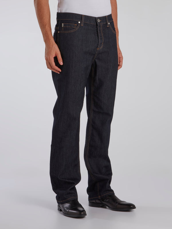 Navy Denim Baggy Pants