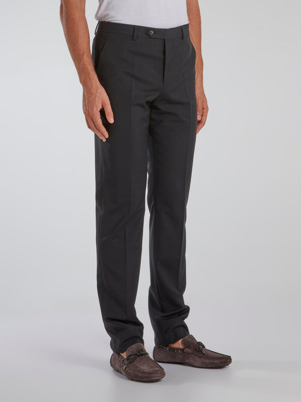 Charcoal Straight Cut Suit Pants