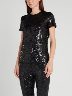 Black Round Neck Sequin T-Shirt