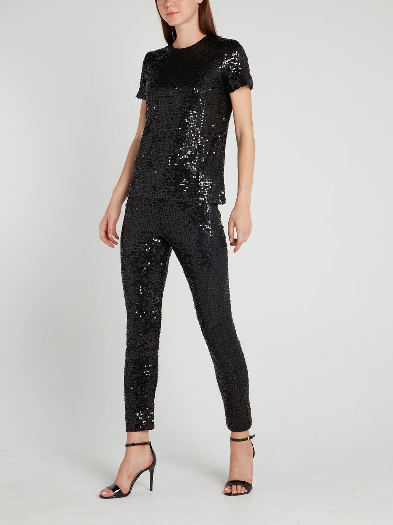 Black Cropped Sequin Pants