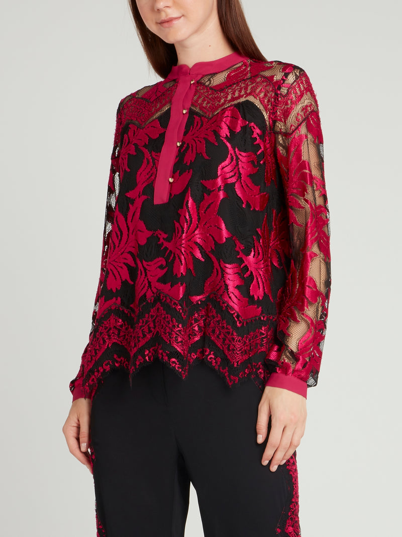 Fuchsia Lace Overlay Top