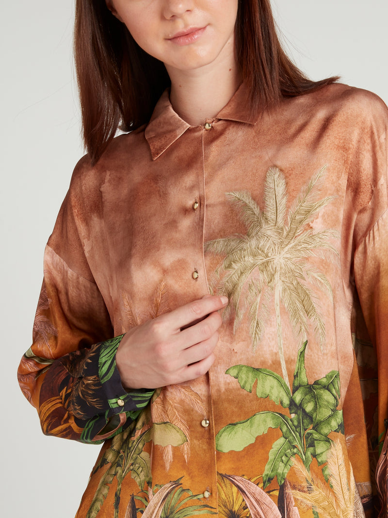 Brown Tropical Print Button Up Shirt
