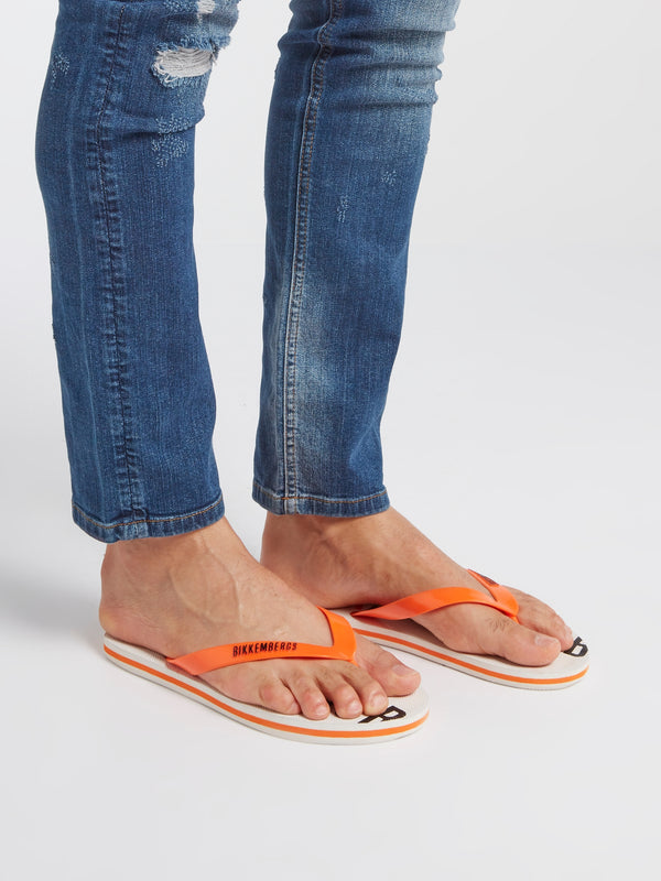 Orange Contrast Logo Flip Flops
