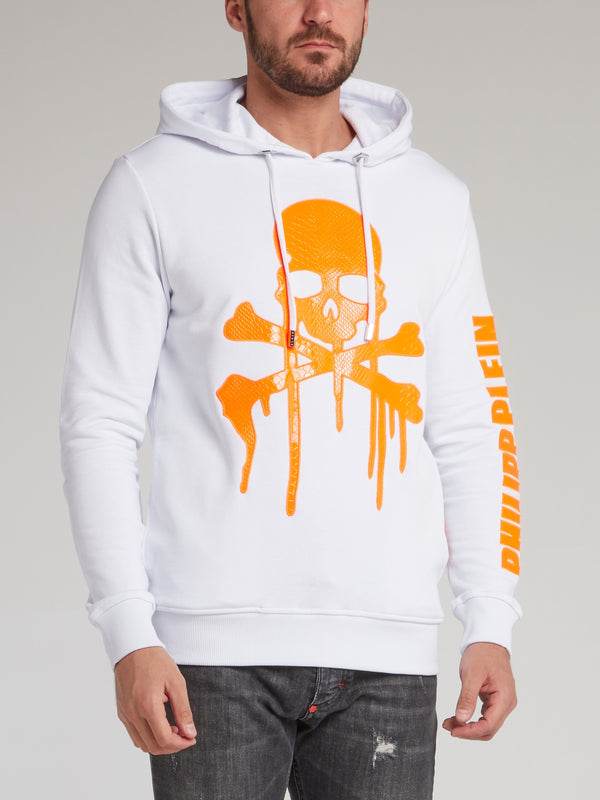 White Dripping Skull Hooded Sweatshirt