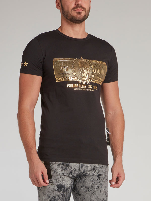 Black with Gold Print Dollar Skull T-Shirt