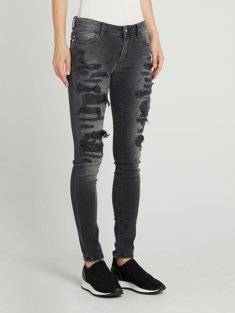 Grey Distressed Skinny Trousers