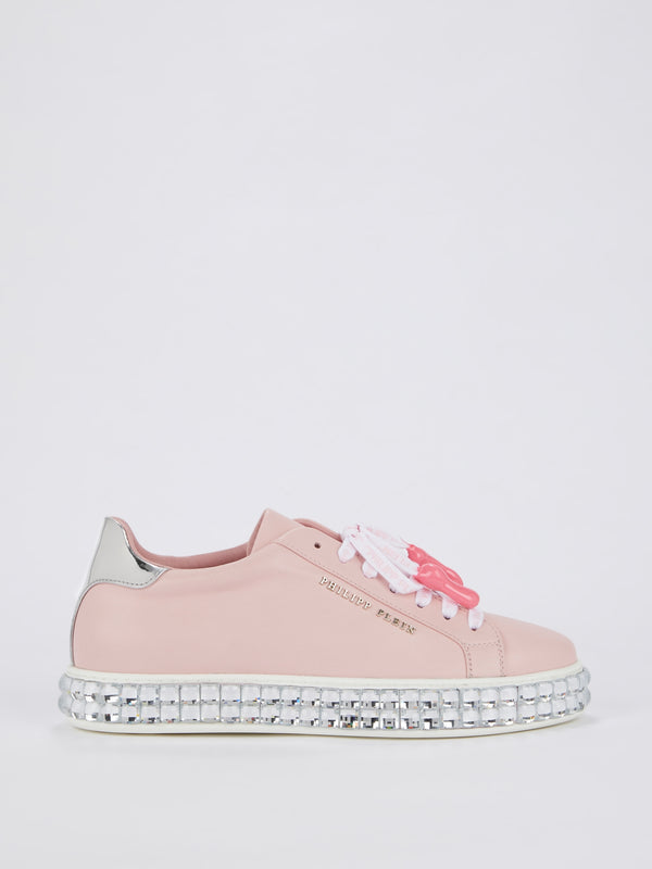 Crystal Sole Pink Leather Sneakers
