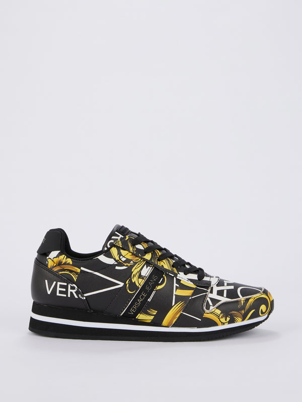 Baroque Print Leather Sneakers