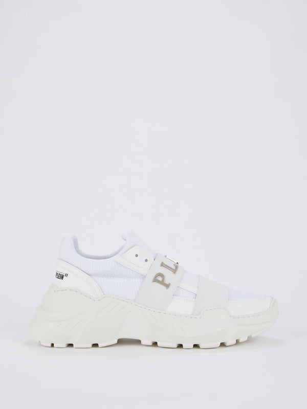 White Front Logo Strap Mesh Trainers