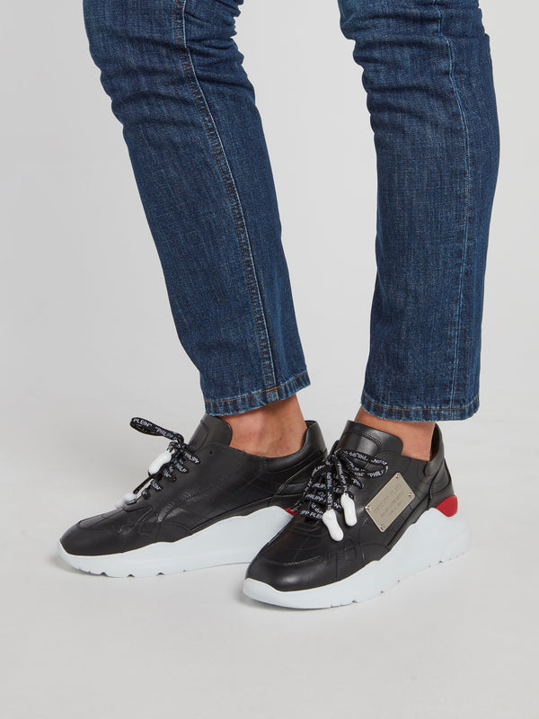 Black Logo Lace Statement Trainers