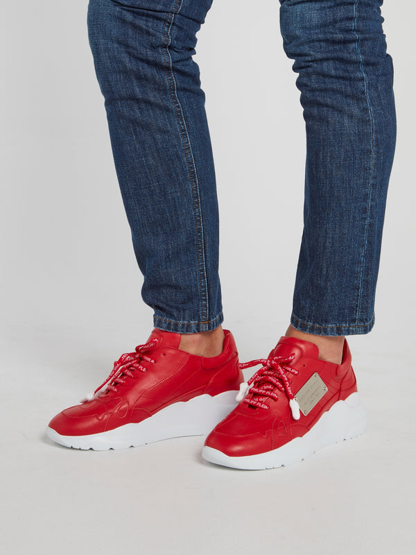 Red Logo Lace Statement Trainers