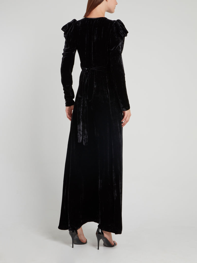 Black Velvet Surplice Maxi Dress