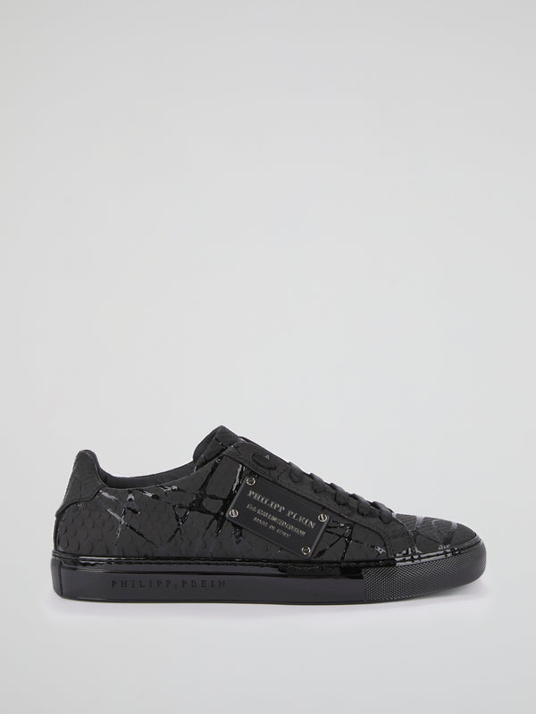 Black Python Effect Statement Sneakers