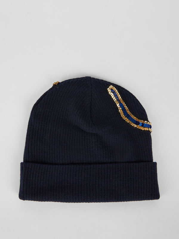Navy Multi-Sequin Beanie Cap