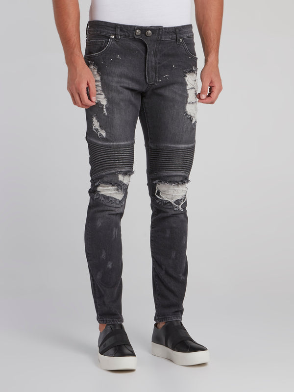 Haelay Black Tattered Biker Jeans