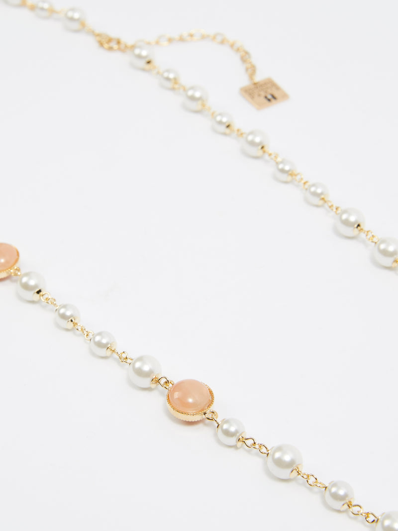 Nude Flower Pearl Necklace