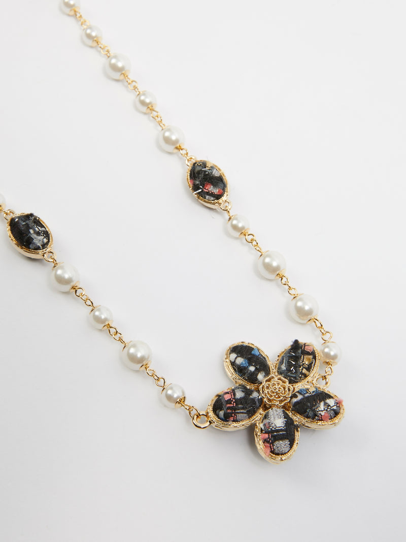 Marine Flower Pearl Necklace