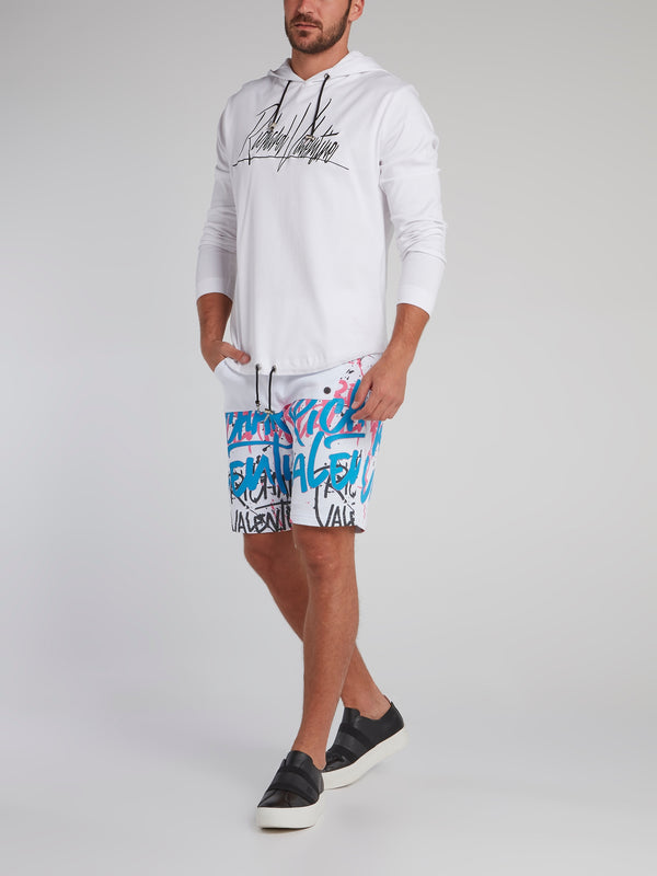 White Paint Splatter Statement Shorts