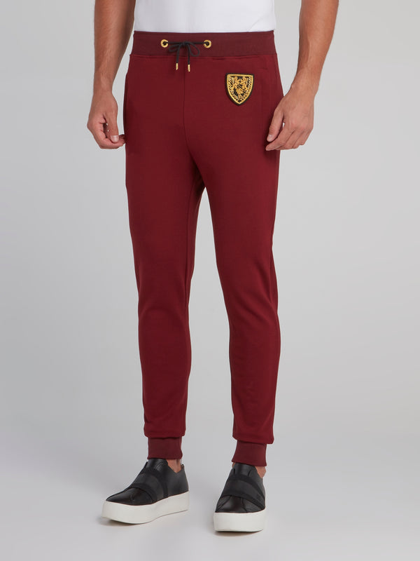 Burgundy Appliquéd Jogging Trousers