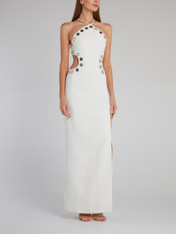 White Mirror Embellished Cut Out Gown