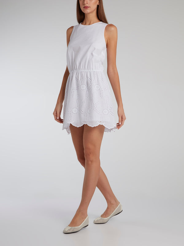 White Gathered Waist Mini Dress