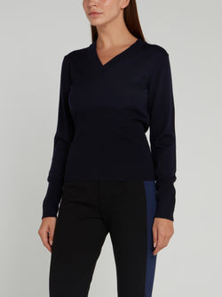 Navy Rear Logo V-Neck Sweater