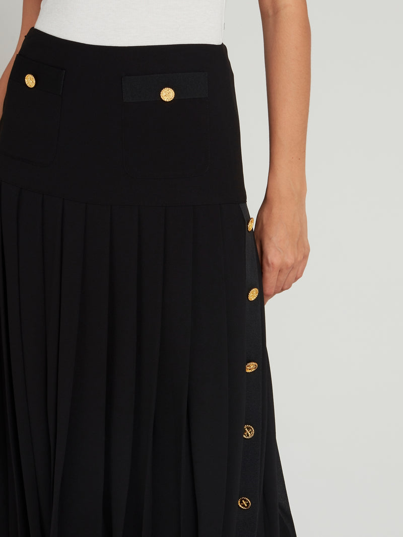 Black Pleated Midi Skirt
