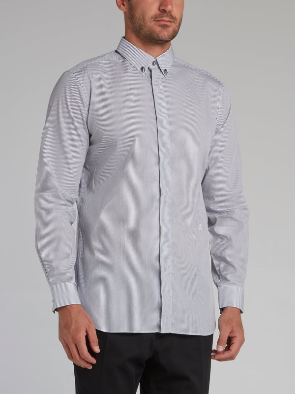 White Pinstripe Button Down Shirt