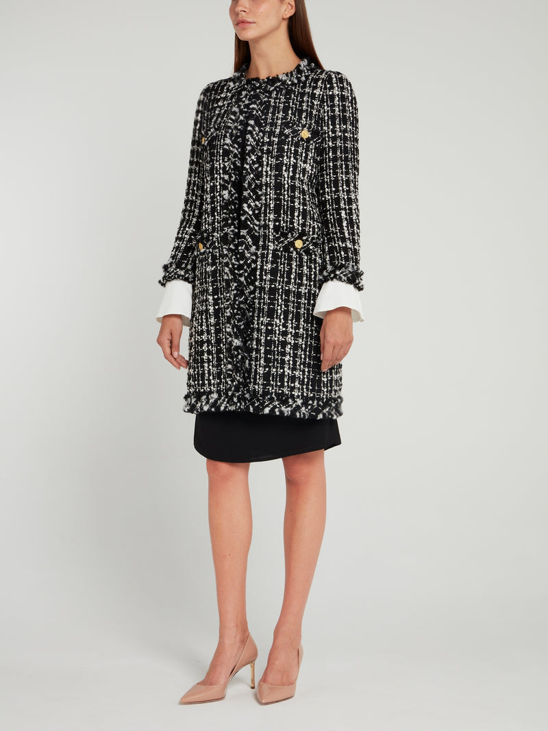 Black Button Embellished Tweed Coat