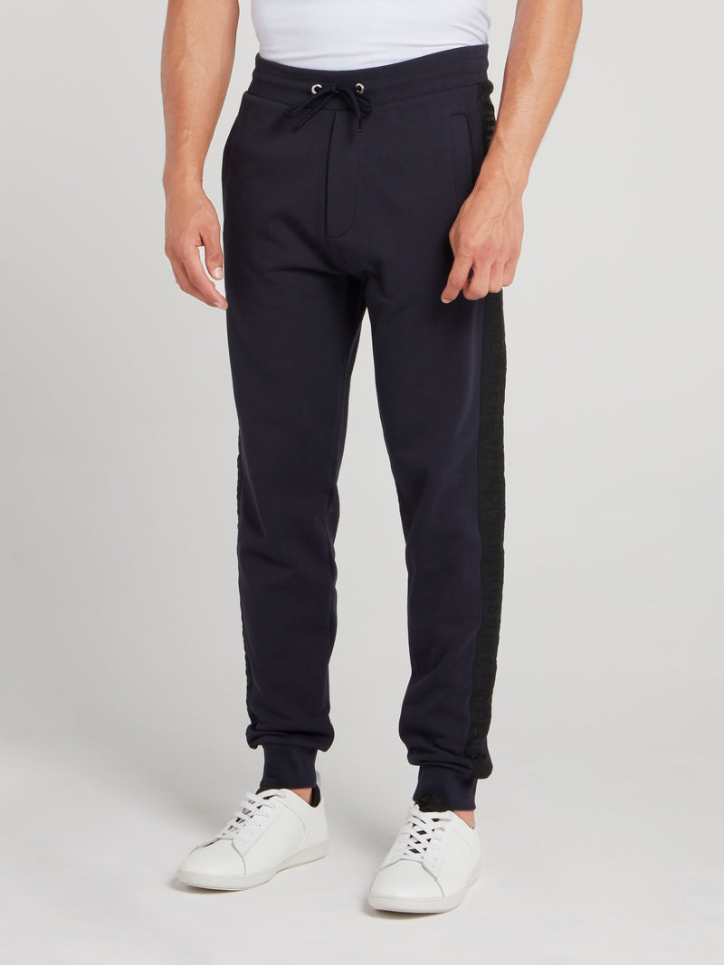 Navy Logo Tape Fleece Pants