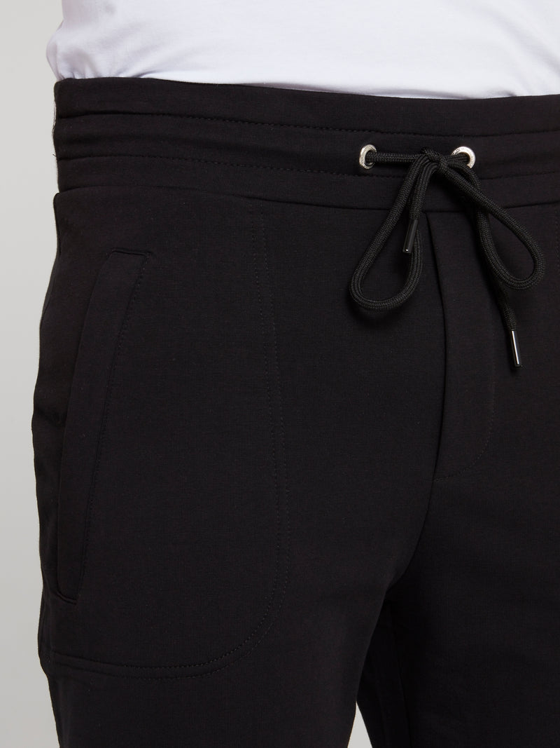 Black Logo Waistband Fleece Pants