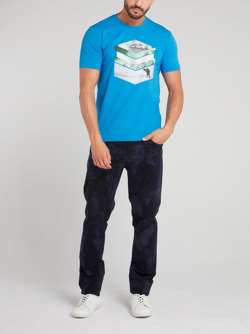 Blue Chevron Graphic T-Shirt