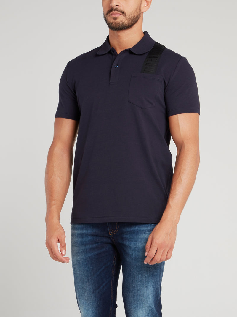Navy Logo Strap Polo Shirt