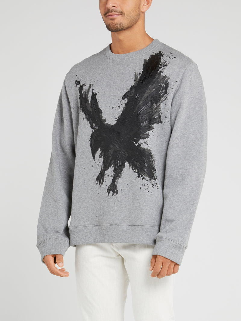Grey Eagle Print Cotton Sweatshirt