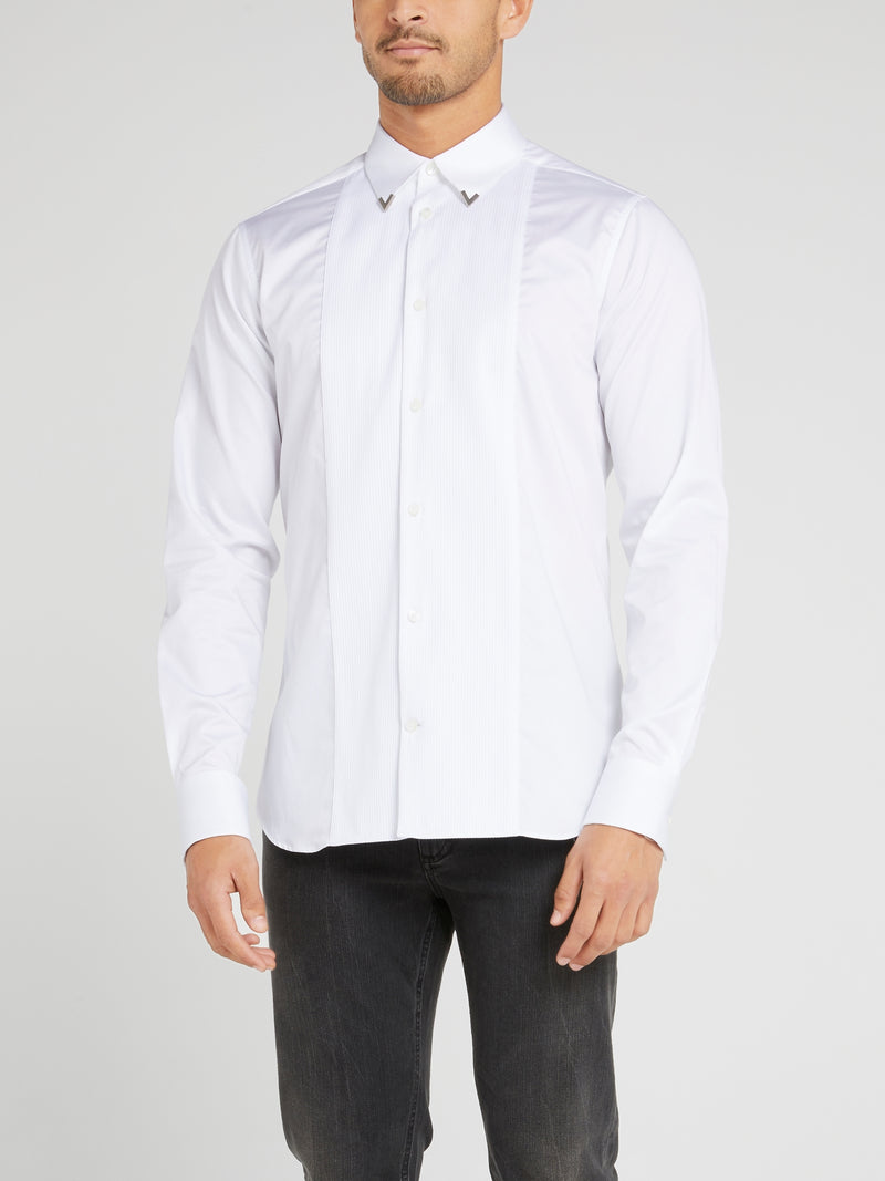 White Collar Tip Embellished Long Sleeve Shirt