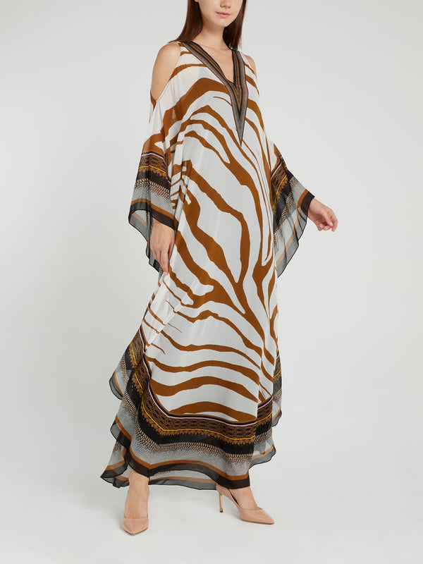 Animal Print Cold Shoulder Dress