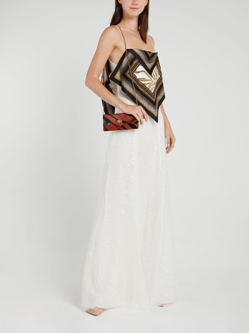 White Sequin Flap Maxi Dress