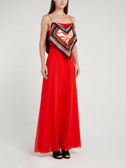 Red Flap Silk Maxi Dress