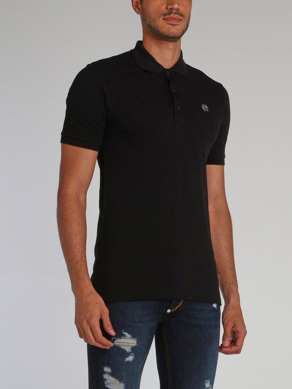 Black Rear Skull Studded Polo Shirt