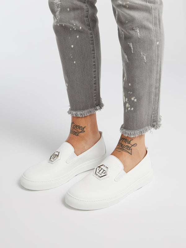 White Monogram Patched Slip On Trainers