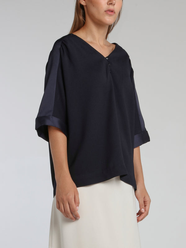 Vernon Navy Satin Trapeze Top