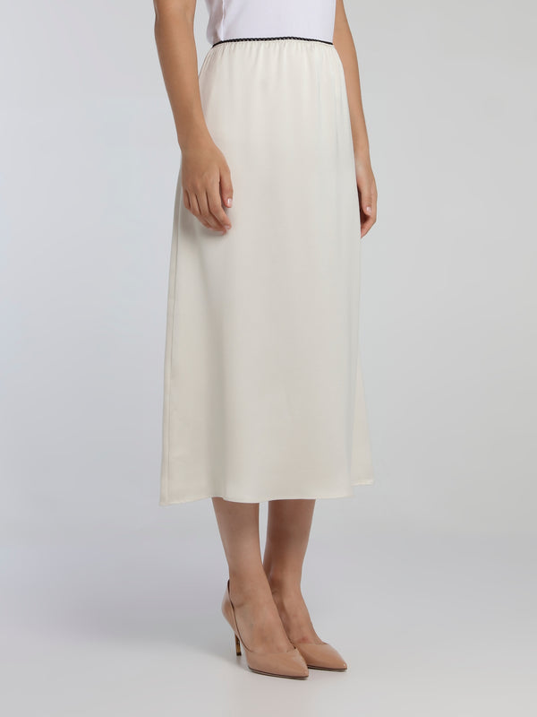 White High-Waist Column Midi Skirt