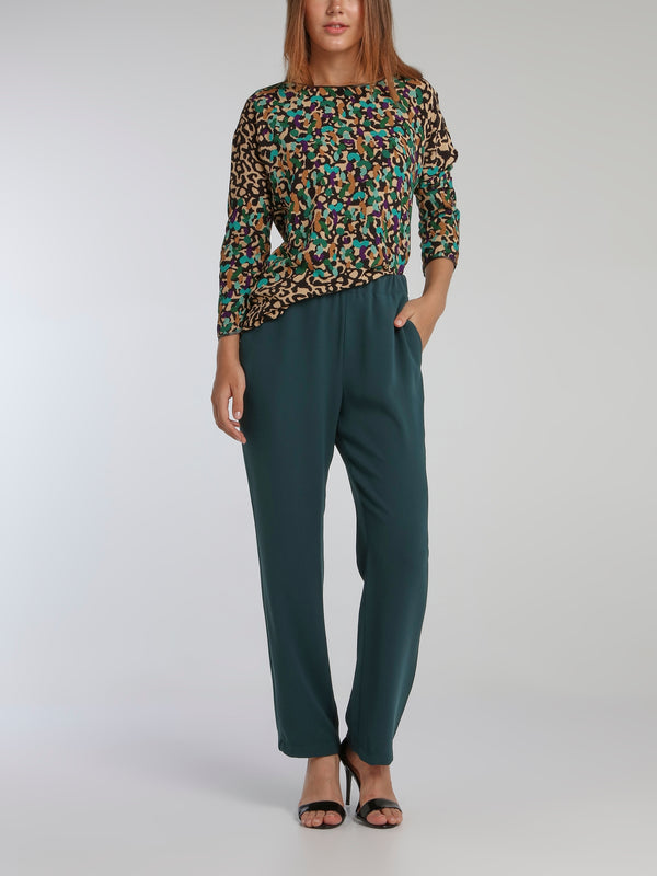 Lizzi Teal Crepe Straight Pants
