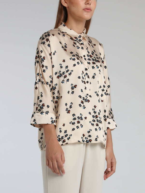 Victori White Leaf Print Shirt